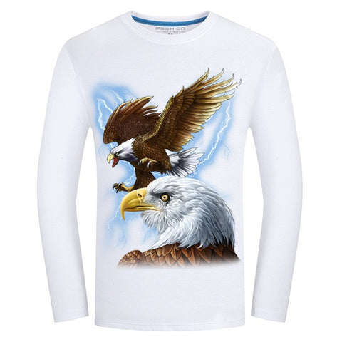 Fashion  t-shirt long sleeve  Wolf Printed casual top Plus Size 6XL - Protect The Wolves
