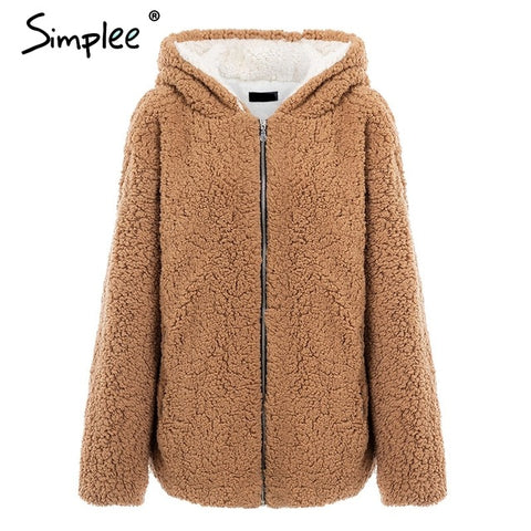 Image of Simplee Hooded  coat women - Protect The Wolves