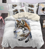 Indian feathers wolf Bedding Set King size