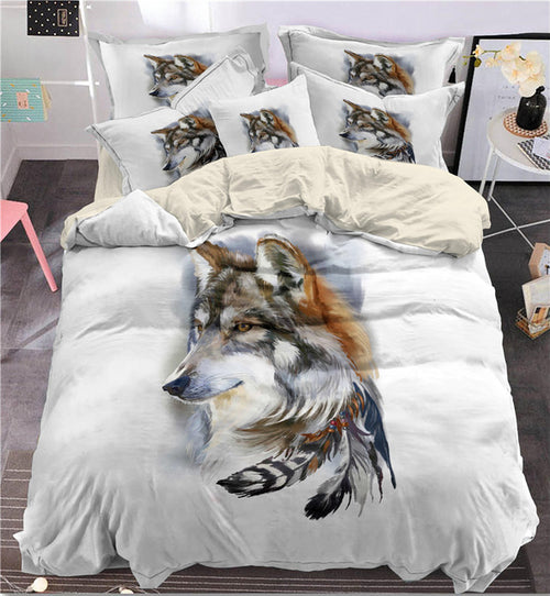 Indian feathers wolf Bedding Set King size - Protect The Wolves