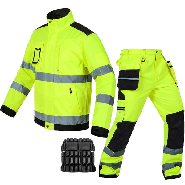 Bauskydd reflective work wear jacket work trousers with knee pads free shipping