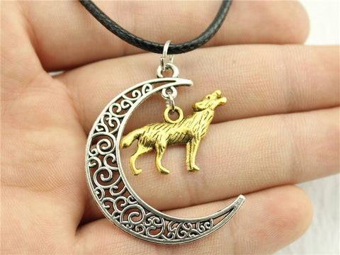 Crescent Moon And Wolf Leather Chain Necklace - Protect The Wolves