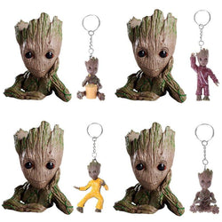 Baby Groot Action Figure  with 1PC Keychain