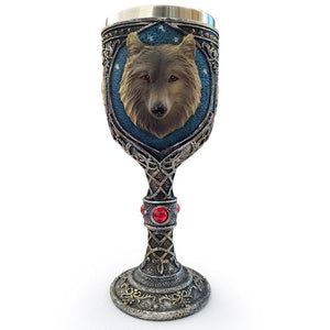 3D Wolf  Wine Goblet Stainless Steel Insulated Drinkware - Protect The Wolves