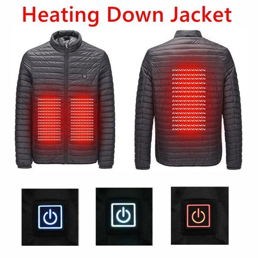 USB Infrared Heating Winter Men Down Parkas Jackets Fashion Man Hooded Thick Warm Outwear Overcoat Wadded Coat