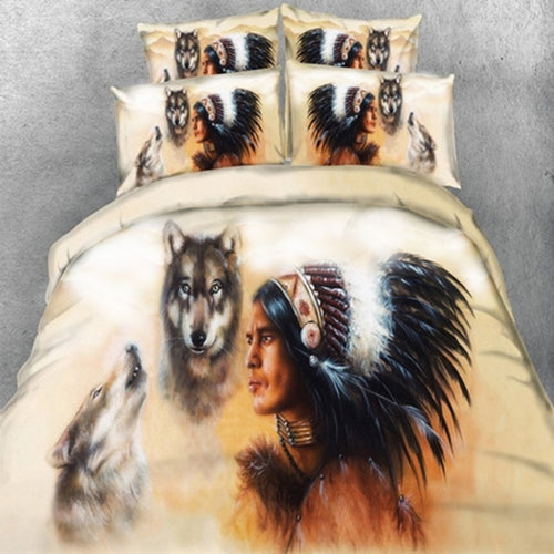 Wolf Native King Size Bed Europe Style 3D - Protect The Wolves