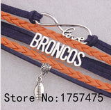 Seahawks or Broncos  Multilayer Braided Leather Bracelet Charms for Women