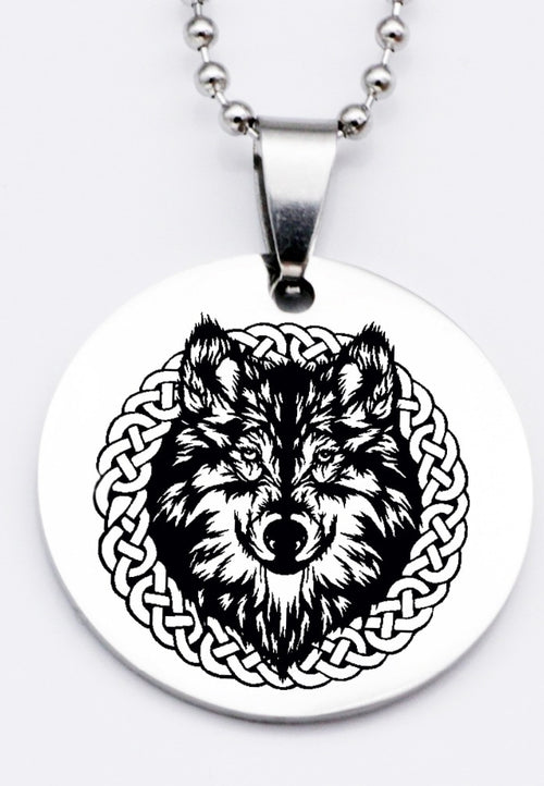 Round Necklace Keychain Wolf Head Stainless Steel Jewelry Gift - Protect The Wolves