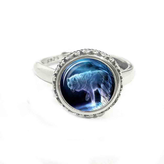 Luminous Jewelry Wolf Parttern Night Light Statement Real Solid 925 sterling Silver Ring Glass