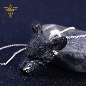 Obsidian Carved Wolf Head With 925 Silver Pendant 45x35x14mm 22.54g Jewelry Handmade Pendant - Protect The Wolves