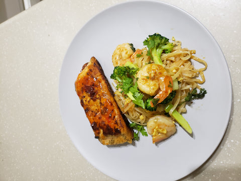 Homemade Pad Thai Noodles  with Sweet Chilli Salmon-quarantine dinner | Odyssey By Yendi