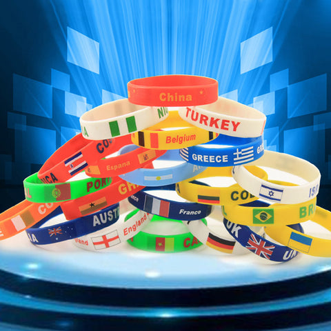 1pcs Russia World Cup 2018 Football Fans Bracelet Soccer fan Accessories Football Silicone Bracelet Cheerleading supplies