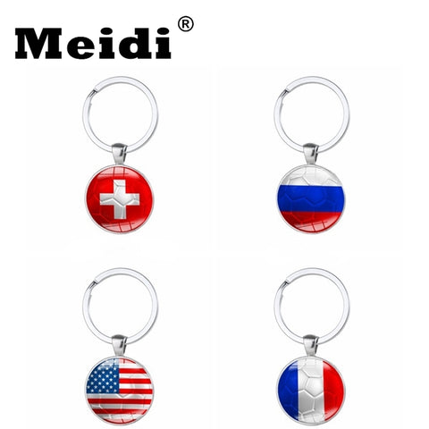 2018 World Cup Football Flag Key Chains Key Rings Russia Germany Brazil Argentina France Spain Netherlands Flag Soccer Souvenir