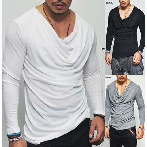 New Arrival Men's Fashion V-neck Long Sleeve Solid Color Slim Fit Casual Cotton Irregular T-shirt Three Colors WZK4163