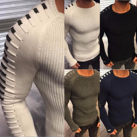 Men Fashion Round Collar Winter Sweater Slim Fit Pullovers Casual Sweater
