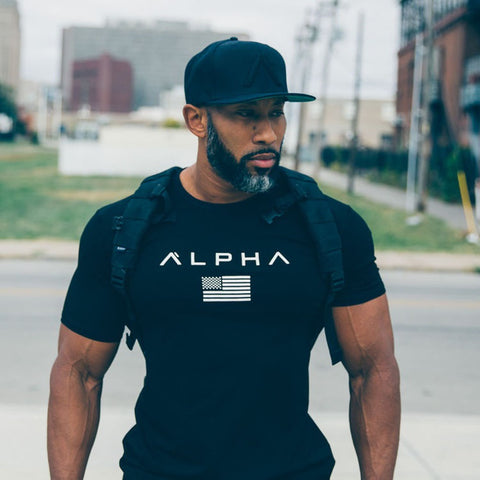 High Quality Men Running Training  Gym High Elastic Gym Junky Alpha Quick Dry T Shirt