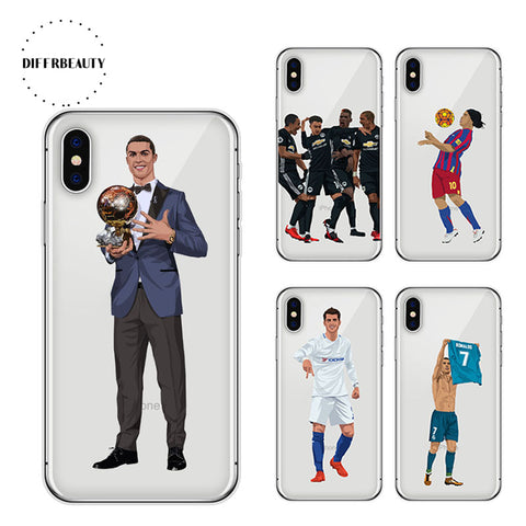 DIFFRBEAUTY Soccer Ball Case For iPhone X Milly Ronaldo Soft TPU Mobile Phone Cover for iPhone X 8 7 6s plus 5s Case Capa Cover