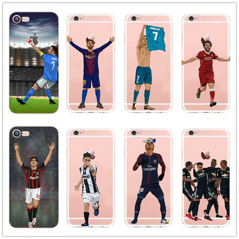Fashion cartoon Soccer player Neymar ronaldo  Phone Cases For  Apple iPhone 6 6S 7 7Plus X  Soft silicone TPU Cover Coque 1 2