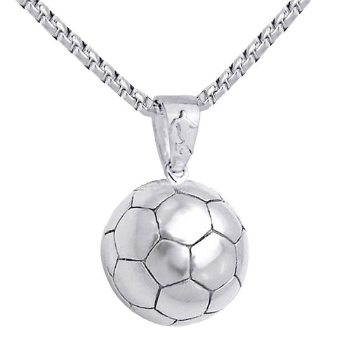 Football Pendant Necklace Men Stainless Steel Chain Soccer Ball Hippie Necklace Male Sports Hip Hop Men Jewelry Christmas Gift