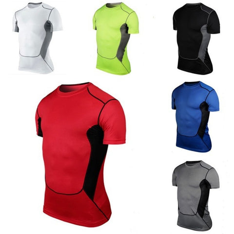 Mens Sports Compression Wear Under Pro Base Layer Short Sleeve T-Shirts Asian Size