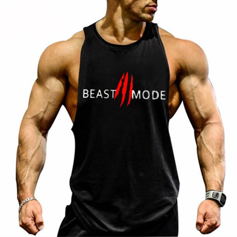 Fitness Men Tank Top Workout BEAST Print Vest Stringer Sport Wear Undershirt