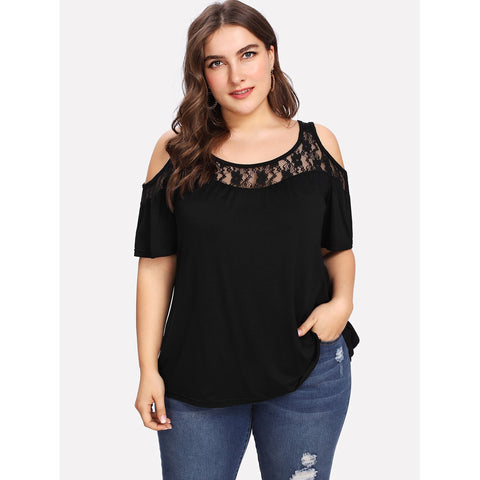 Lace Insert Open Shoulder Tee