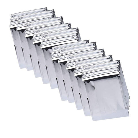 10 silver aluminum emergency blankets