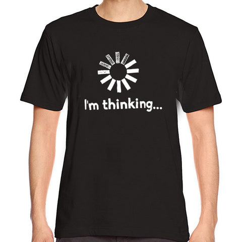 black t shirt with I'm thinking written on it and loading screen icon above that