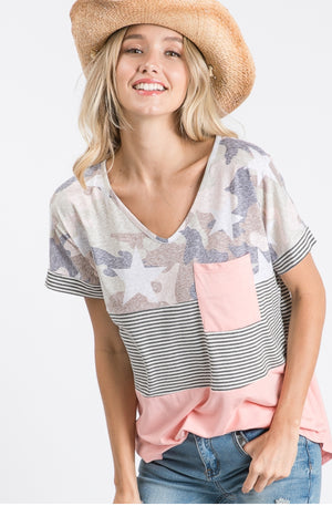 Color Block Camo Top
