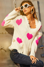 White Frayed Sweater Pink Hearts