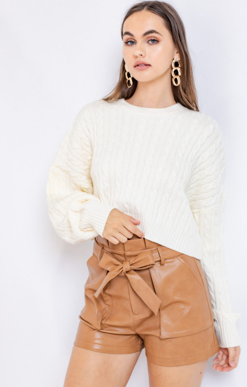 Crop Cream Cable Knit Sweater