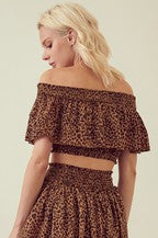 Leopard Tier Layered Skirt with Smocked Waist