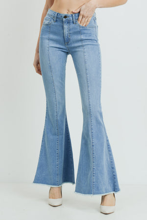High Rise Frayed Flare Denim Jean