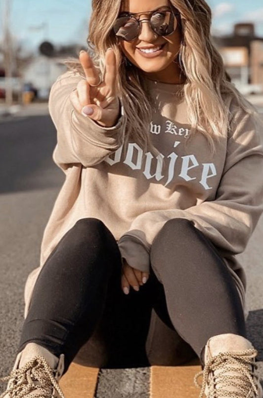 Tan Crewneck-Low Key Boujee