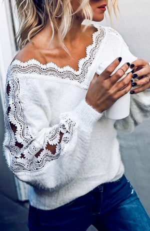White Lace Sweater