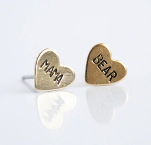 Mama Bear Hand Stamped Heart Earrings
