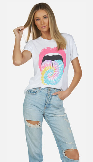 Vintage tee roll up sleeve tie dye tongue