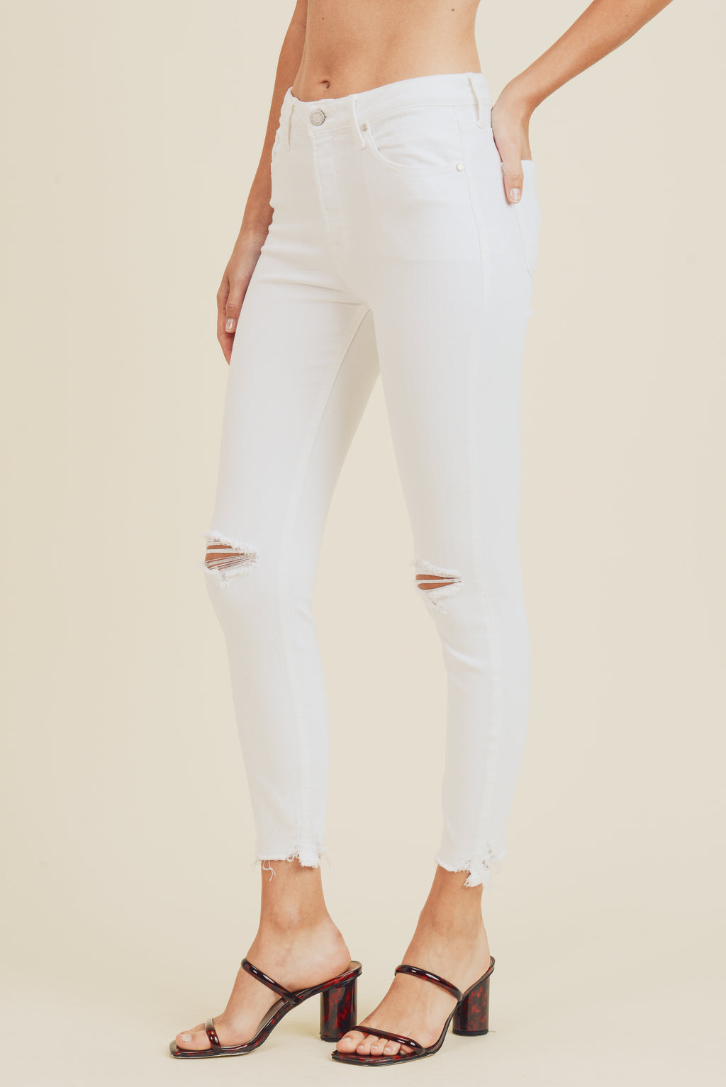 High Rise Destroyed White Denim Jean