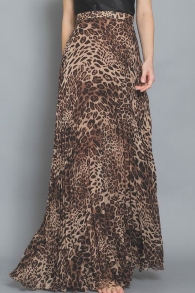 Leopard Pleated Maxi Skirt