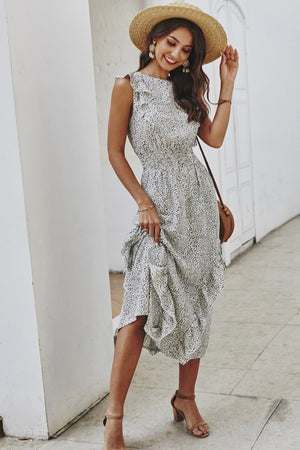 Ruffled Cheetah Sleeveless Dress