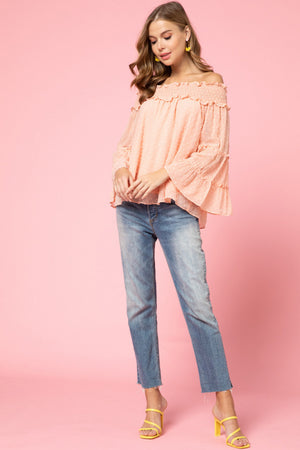 Dotted Swiss Off The Shoulder Peach Top