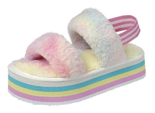 Rainbow Platform Slipper