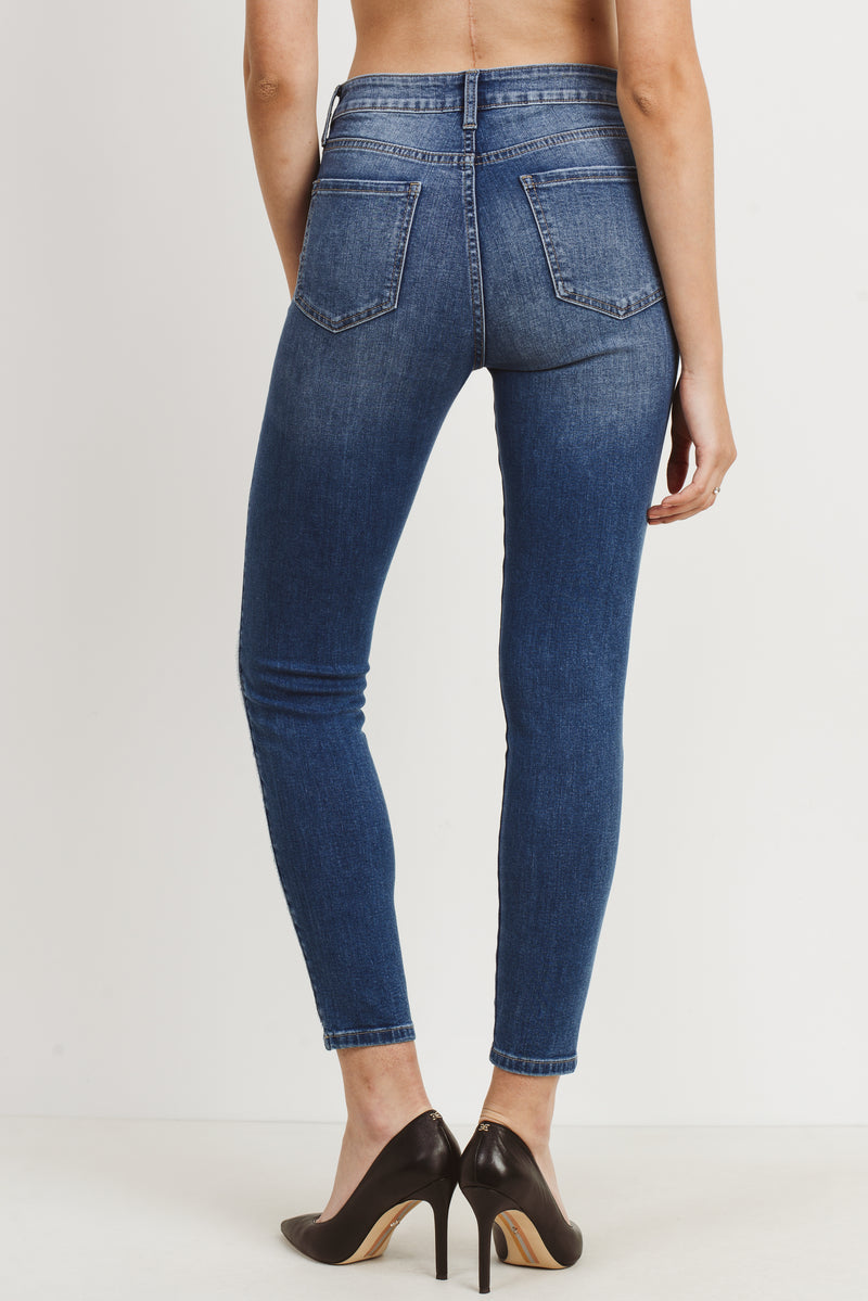 High rise skinny with side stripe detail