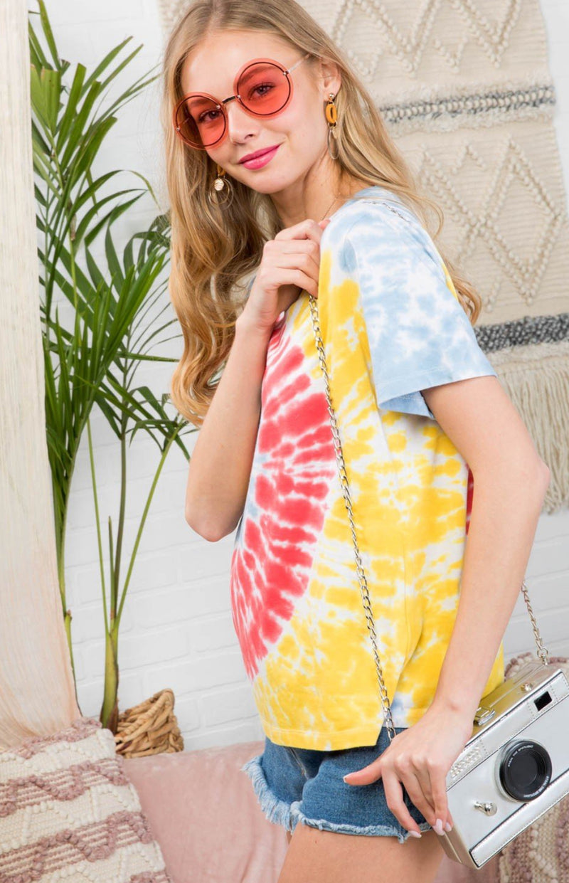 Tie Dye Pink Orange and Yellow Short Sleeve Top
