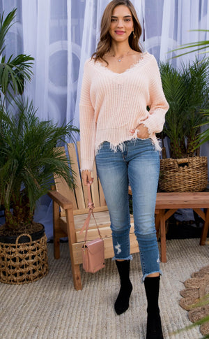 Frayed V Neck Sweater Blush