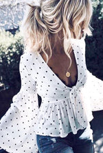 Wide Sleeve Bell Polka Dot Top