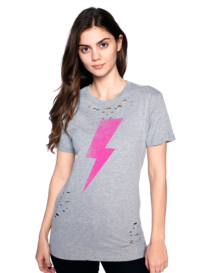 Pink Bolt Distressed Tee