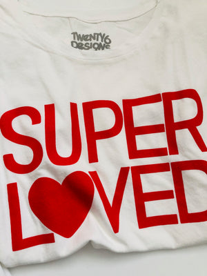 Super Loved White Tee Red Writing