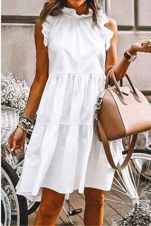 Sleeveless White Babydoll Dress