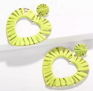 Neon Yellow Heart Earrings